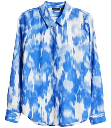 Tops to hide your tummy - Halogen hidden button blouse | 40plusstyle.com
