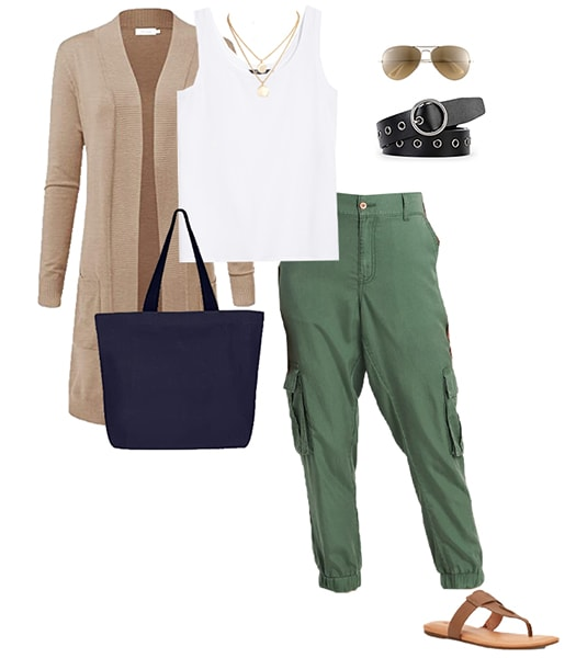 Jennifer Aniston outfit inspiration - beige cardigan and cargo pants outfit inspiration | 40plusstyle.com