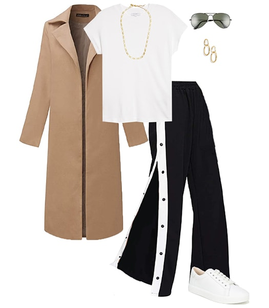 Jennifer Aniston fall look - maxi coat, white tee, crop pants and sneakers | 40plusstyle.com