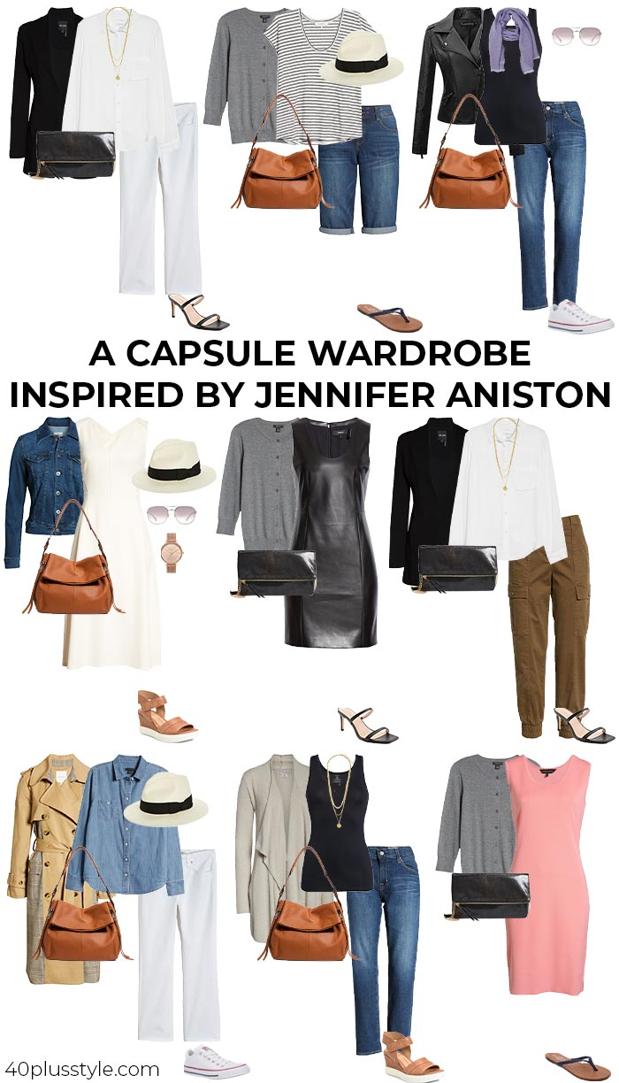 A capsule wardrobe inspired by Jennifer Aniston | 40plusstyle.com