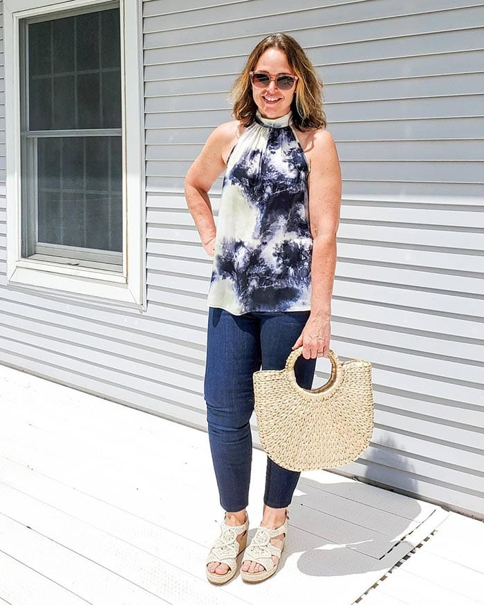 Tops to hide your tummy - Jenny in a printed halterneck top | 40plusstyle.com