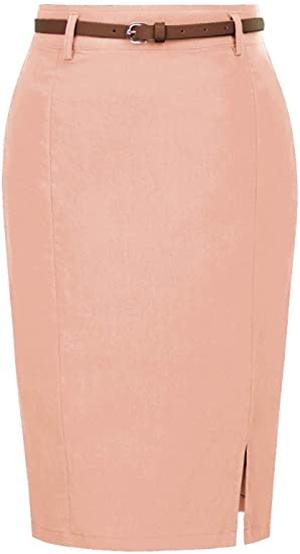 Kate Kasin pencil skirt with belt | 40plusstyle.com