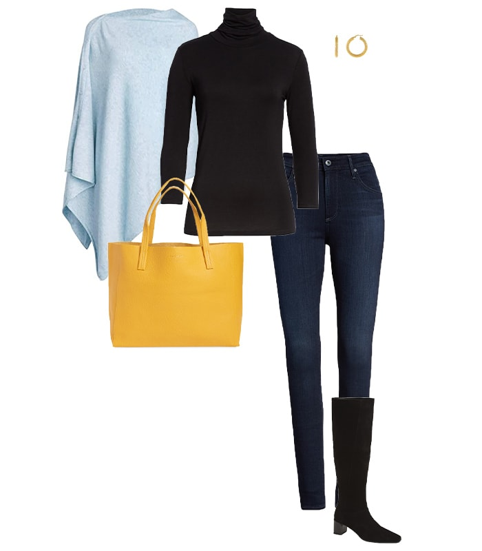 Poncho, sweater and jeans outfit | 40plusstyle.com