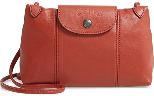 Longchamp Le Pliage - Cuir Leather Crossbody Bag   40plusstyle.com