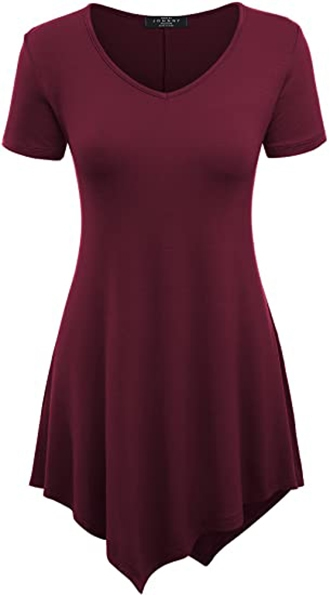 asymmetric tops to hide your tummy - Made By Johnny tunic top | 40plusstyle.com