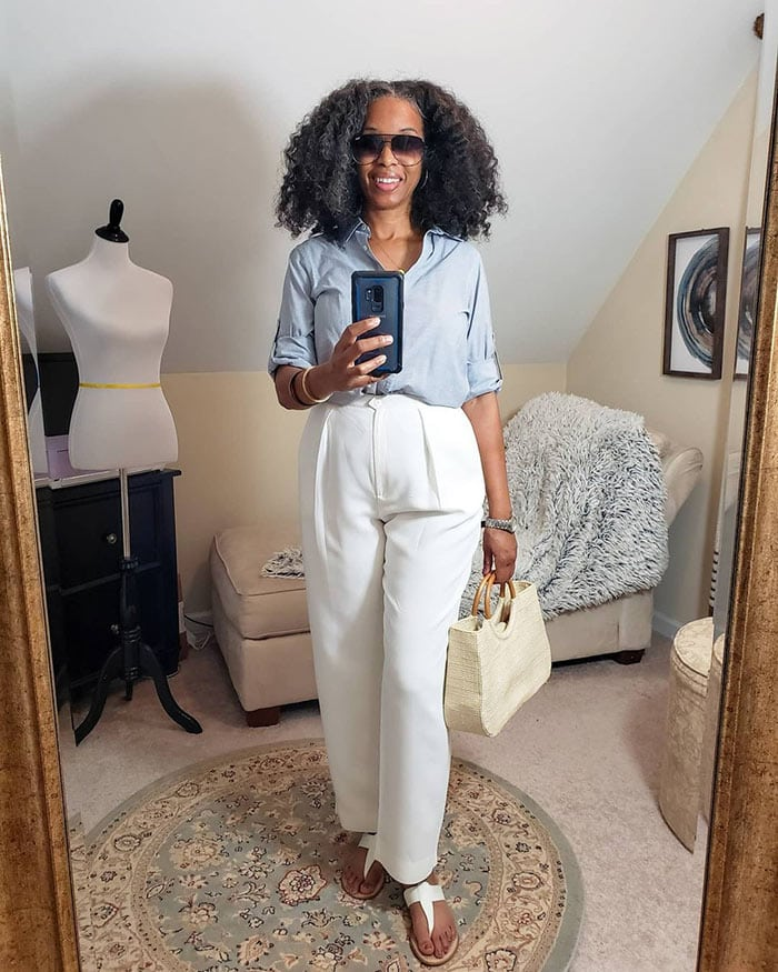 Mo wearing white pants and a blue shirt   40plusstyle.com