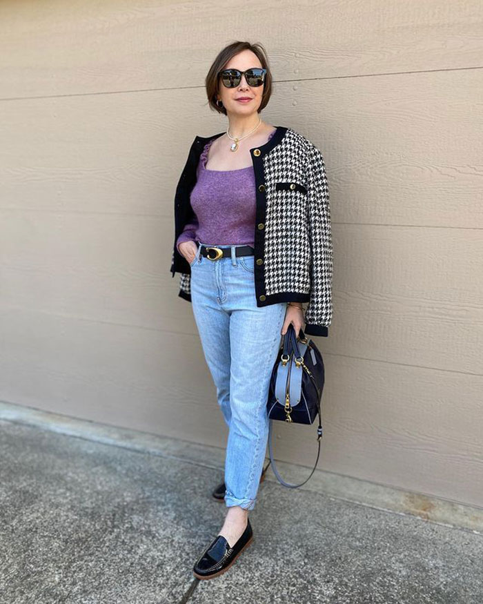 Easter outfits - Oxana wears jeans and a houndstooth jacket | 40plusstyle.com