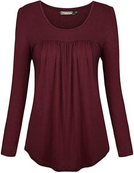 Yidarton scoop neck pleated blouse | 40plusstyle.com
