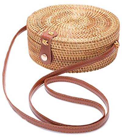 XMLMRY Handwoven Round Rattan Bag   40plusstyle.com
