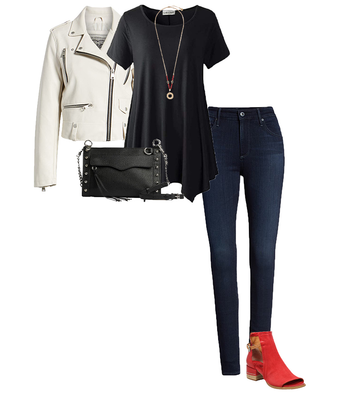 Short jacket worn with tunic and jeans | 40plusstyle.com