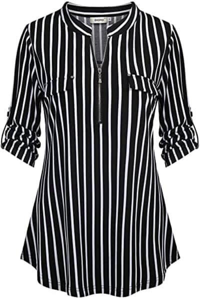 BEPEI 3/4 sleeve stripe shirt | 40plusstyle.com