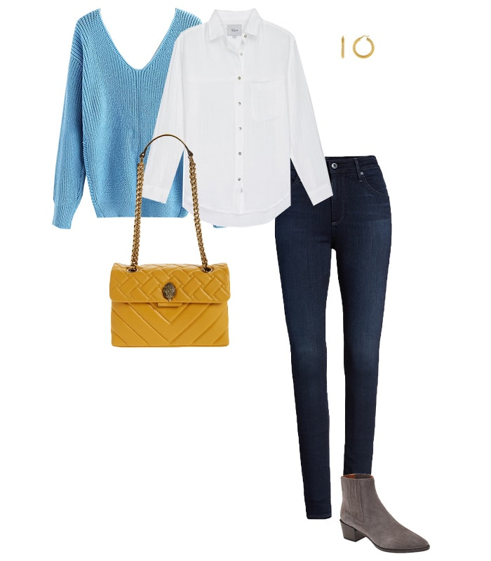 Sweater, shirt and jeans outfit | 40plusstyle.com
