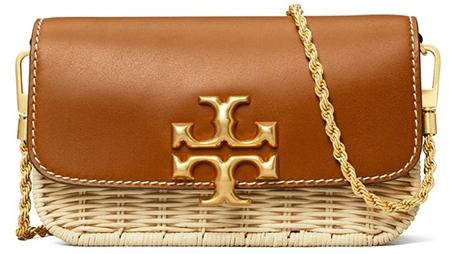 Tory Burch Eleanor Wicker & Leather Phone Crossbody Bag   40plusstyle.com