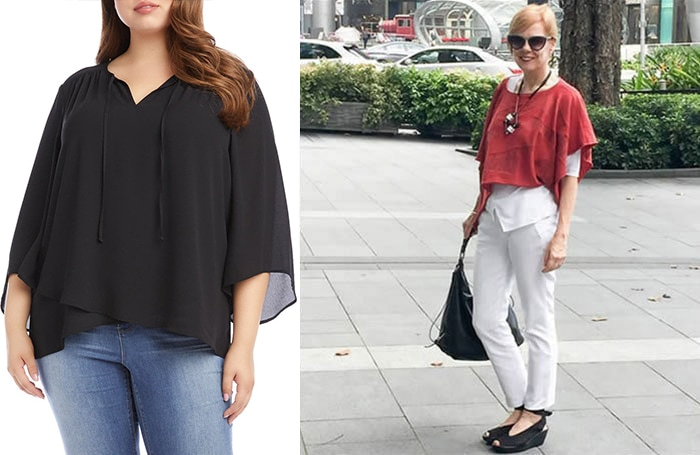 tips to hide your belly - Don't tuck your tops | 40plusstyle.com