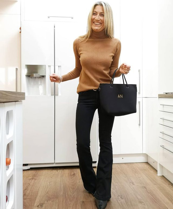 Pants for tall women - Abi in black bootcut jeans | 40plusstyle.com