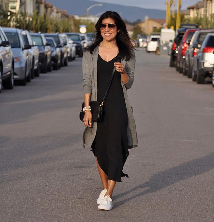 Adaline in a black dress and cardigan | 40plusstyle.com