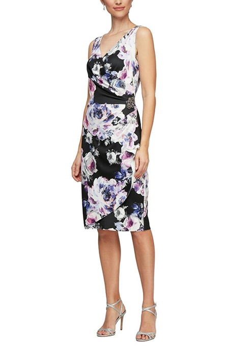 Alex Evenings side ruched cocktail dress | 40plusstyle.com