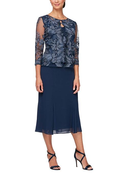 Alex Evenings mock jacket midi dress | 40plusstyle.com