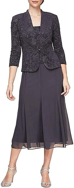 Alex Evenings tea length button-front jacket dress | 40plusstyle.com | 40plusstyle.com