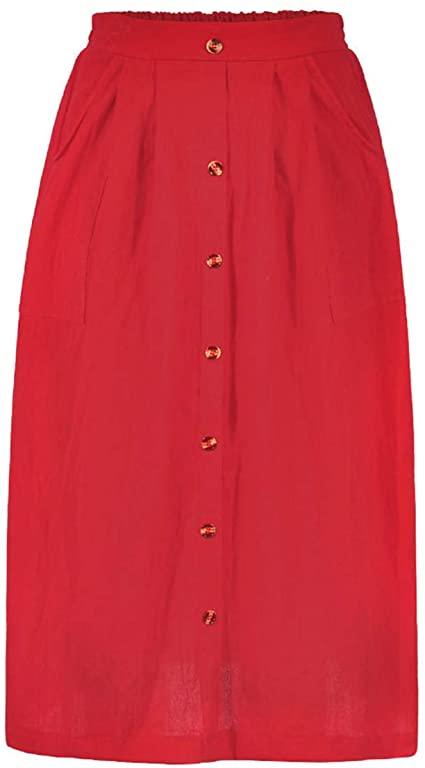 Azue A-line elastic waist midi skirt | 40plusstyle.com