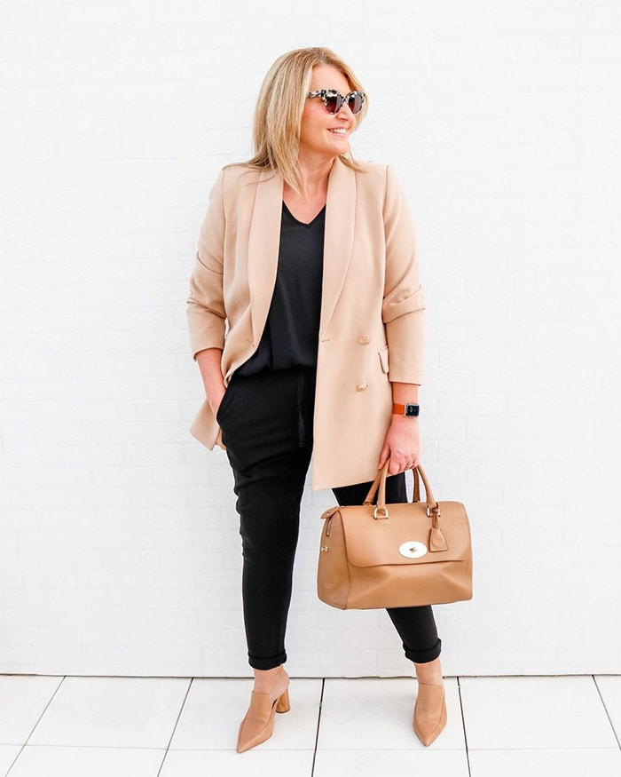 Pants to fit a belly - Bev wears an elastic waist pair of pants with a blazer | 40plusstyle.com