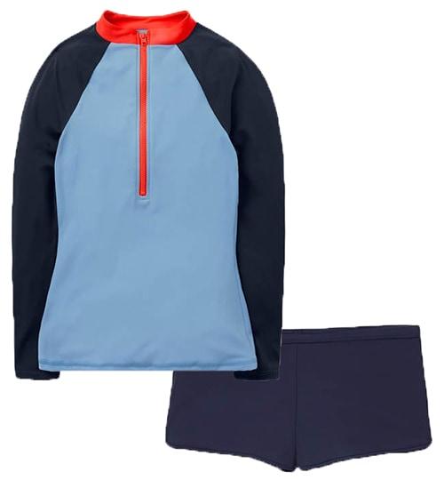 Boden Zip Up Rash Guard / Piping Swim Shorts   40plusstyle.com