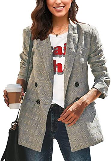 LookbookStore plaid blazer | 40plusstyle.com