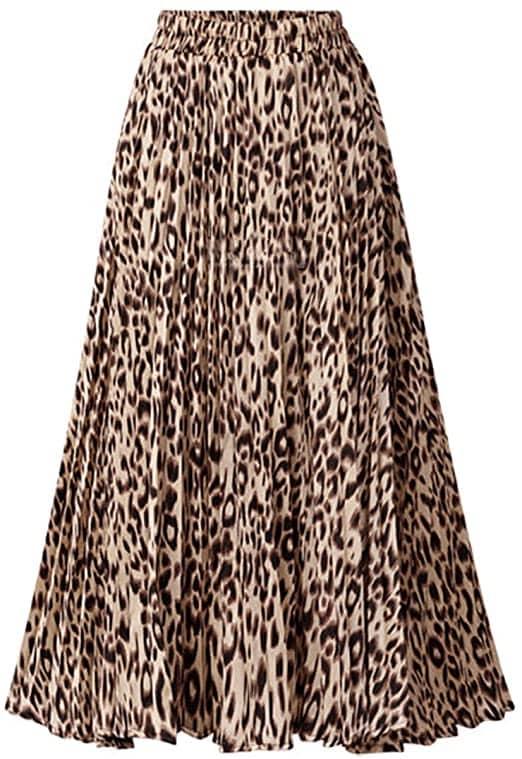 CHARTOU high waist A-line leopard print skirt   40plusstyle.com