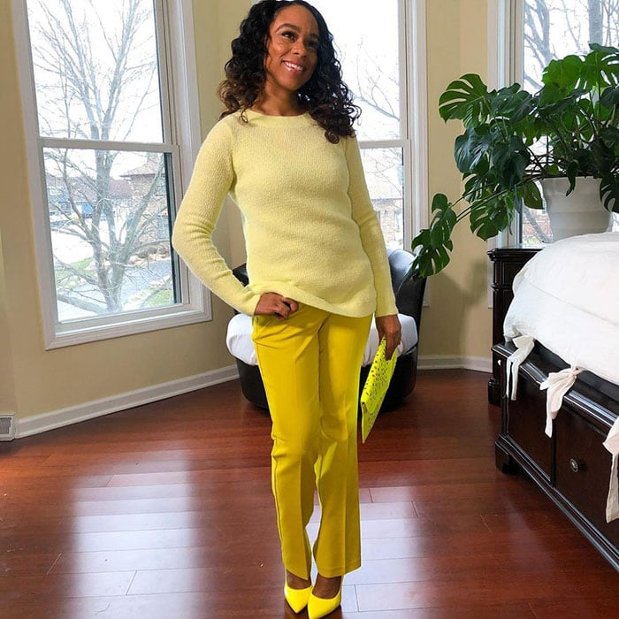 Chloe in an all yellow outfit   40plusstyle.com