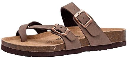 CUSHIONAIRE 'Luna' Cork Footbed Sandal   40plusstyle.com