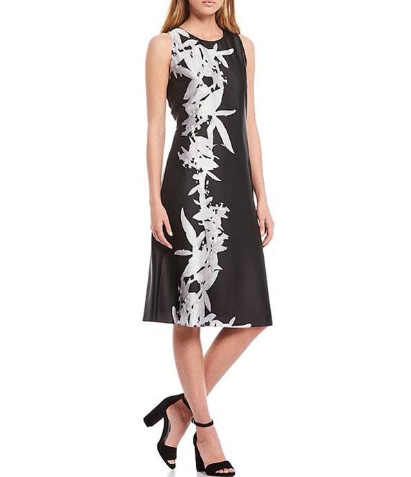 Donna Karan New York printed shift dress | 40plusstyle.com
