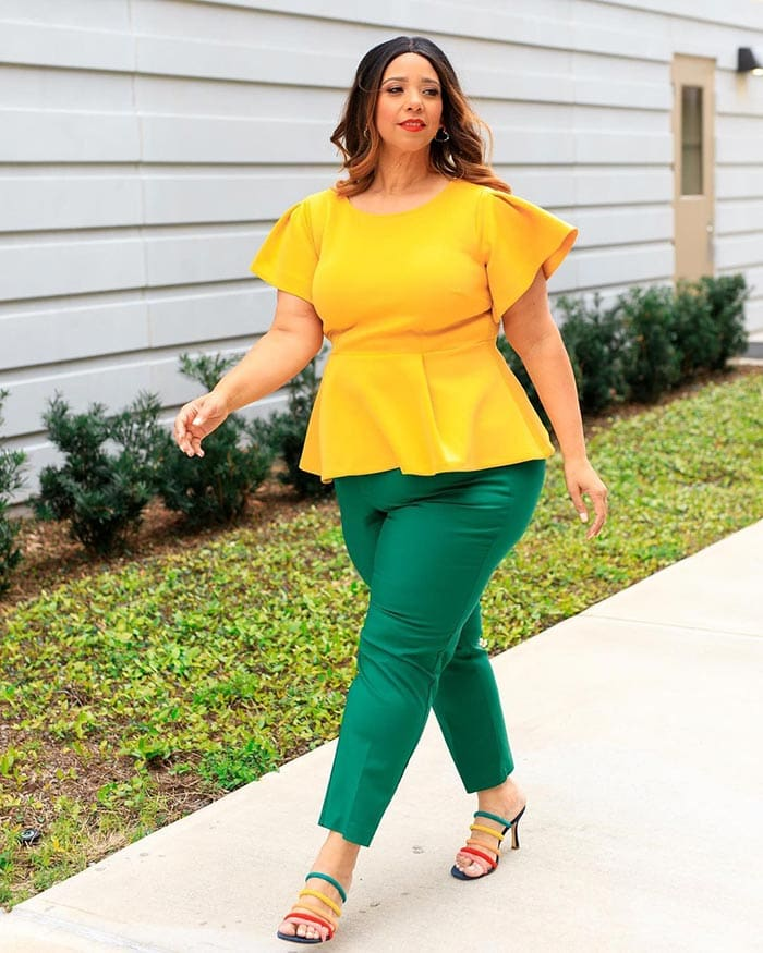 Estrella wears a yellow and green outfit   40plusstyle.com