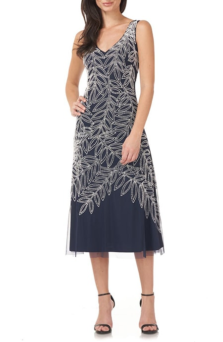 Mother of the bride dresses - JS Collections beaded sleeveless midi dress | 40plusstyle.com