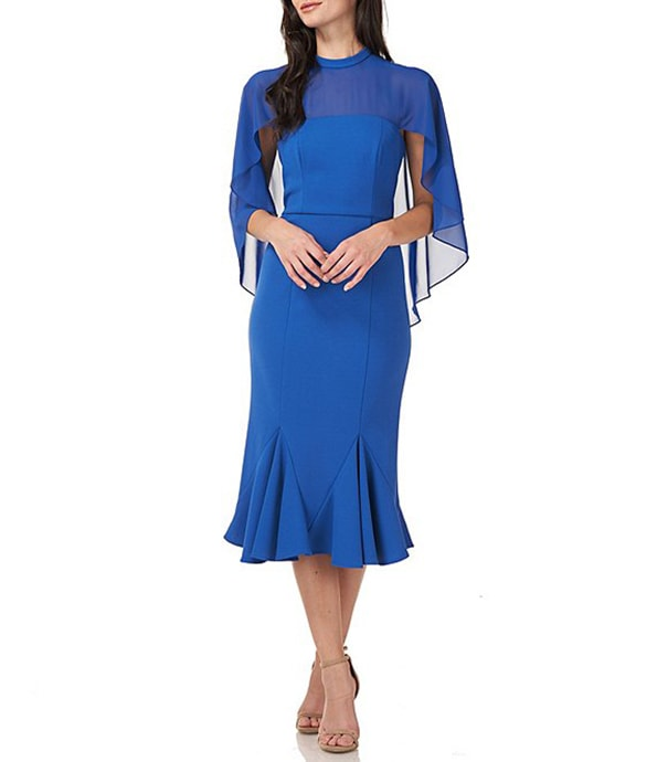 Mother of the bride dresses - JS Collections chiffon capelet midi dress | 40plusstyle.com