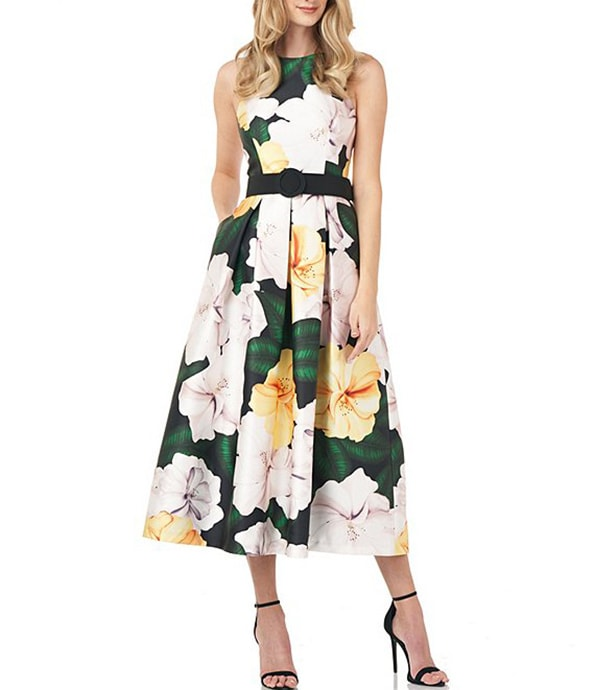 Kay Unger floral fit & flare belted midi dress | 40plusstyle.com