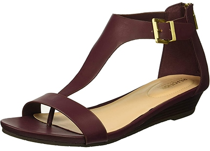 Kenneth Cole REACTION Gal T-Strap Wedge Sandal | 40plusstyle.com