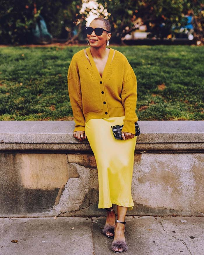 Kim in a yellow skirt and cardigan   40plusstyle.com