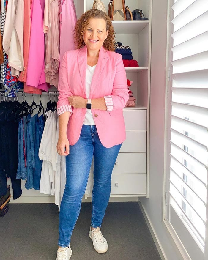 How to fit a blazer - Kirsten in a pink blazer | 40plusstyle.com