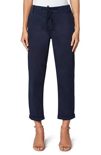 Pants to hide a belly Liverpool Los Angeles drawstring crop utility pants | 40plusstyle.com