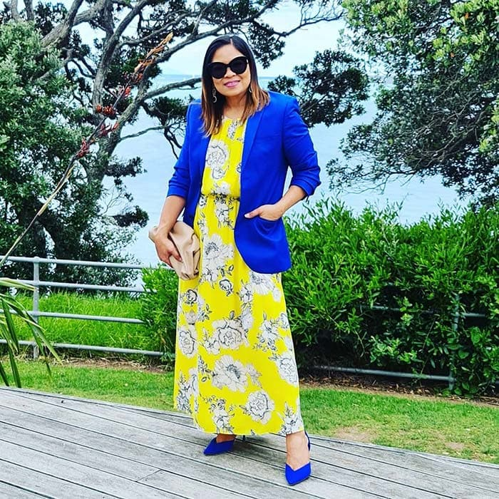 Liza wearing cobalt blue and yellow   40plusstyle.com