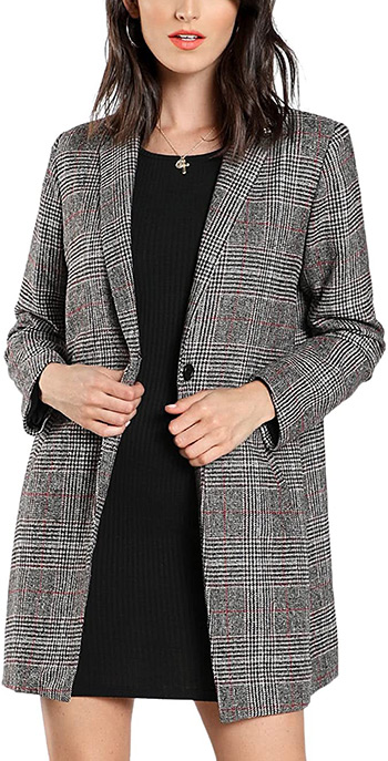SheIn long plaid blazer | 40plusstyle.com
