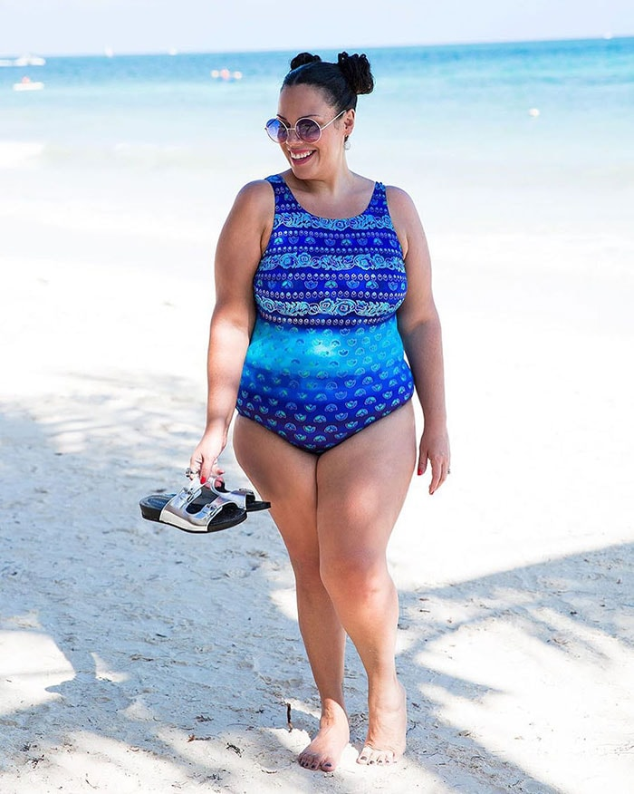 Best bathing suits for women - Madeline in a blue swimsuit   40plusstyle.com