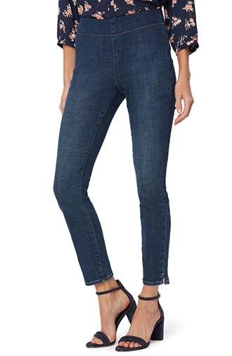 Pants to hide a belly - NYDJ side slit pull-on skinny jeans   40plusstyle.com