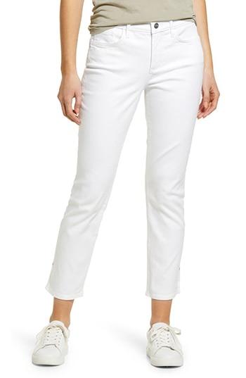 NYDJ side slit slim ankle jeans | 40plusstyle.com