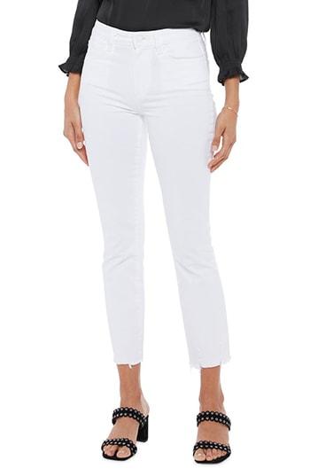 PAIGE high waist raw hem jeans | 40plusstyle.com