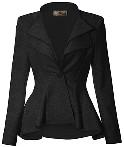 Hybrid & Company notch lapel blazer | 40plusstyle.com