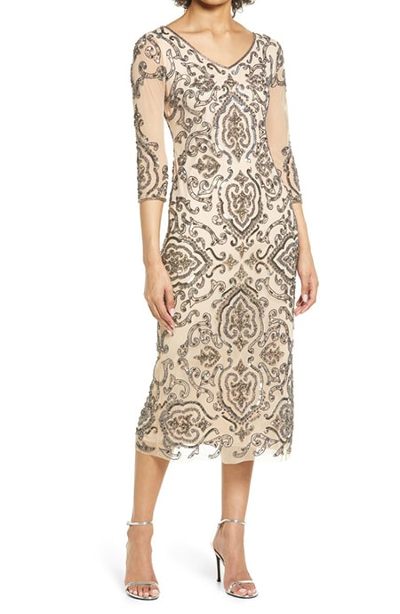 Mother of the bride dresses - Pissaro Nights sequin & beaded cocktail sheath dress | 40plusstyle.com