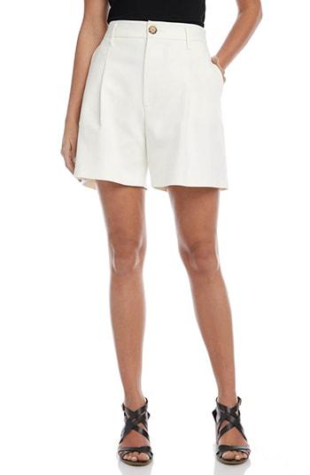 Karen Kane High Waist Pleat Front Shorts | 40plusstyle.com