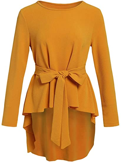 Romwe belted peplum blouse   40plusstyle.com