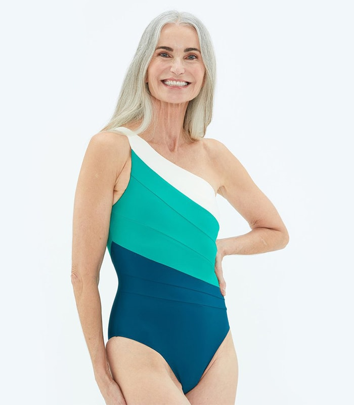 Best bathing suits for women - one strap suit   40plusstyle.com